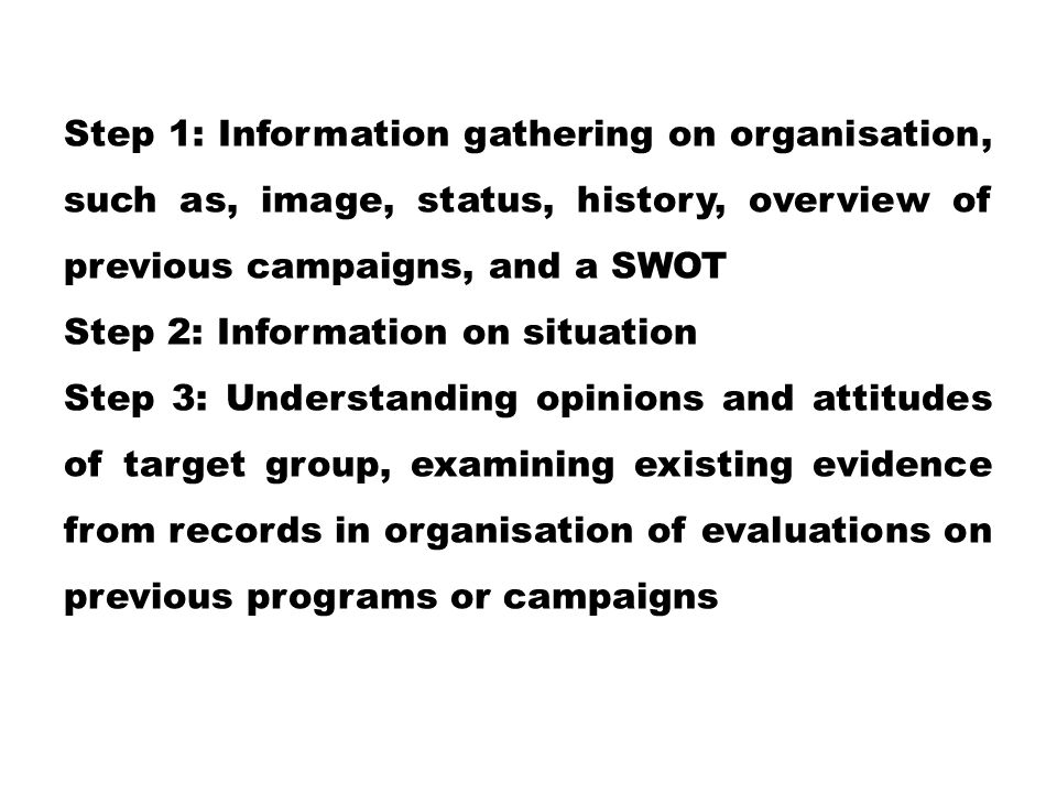 Step 1: Information gathering on organisation, such as, image, status, history, overview of previous campaigns, and a SWOT