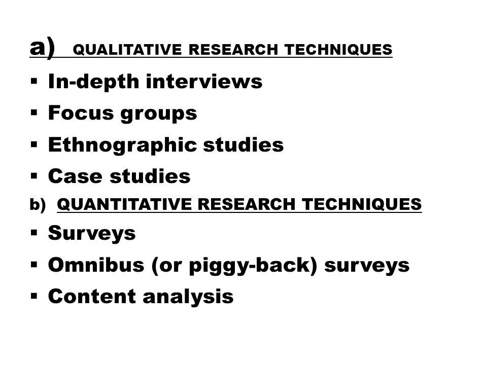 a) Qualitative Research Techniques