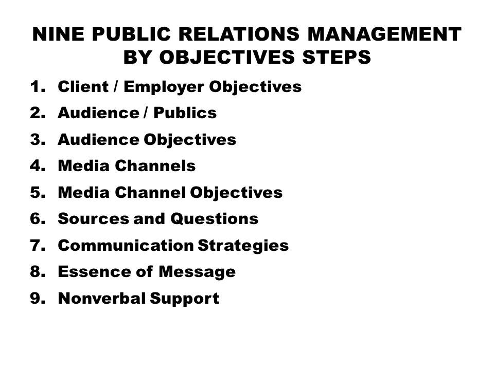 nine Public Relations Management by Objectives steps