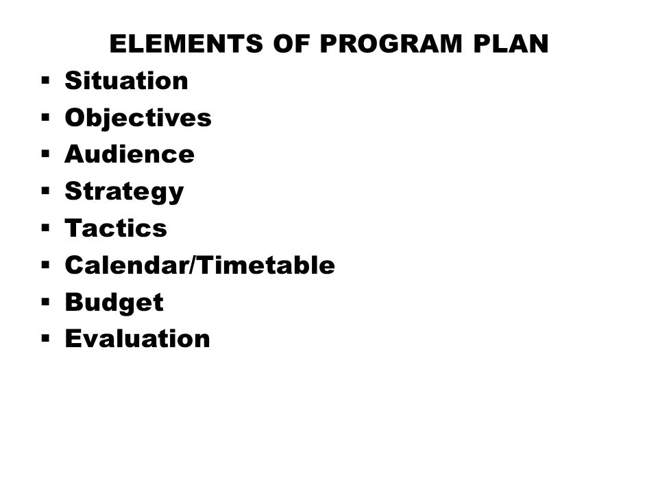 Elements of Program Plan