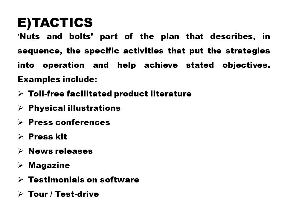 e)Tactics