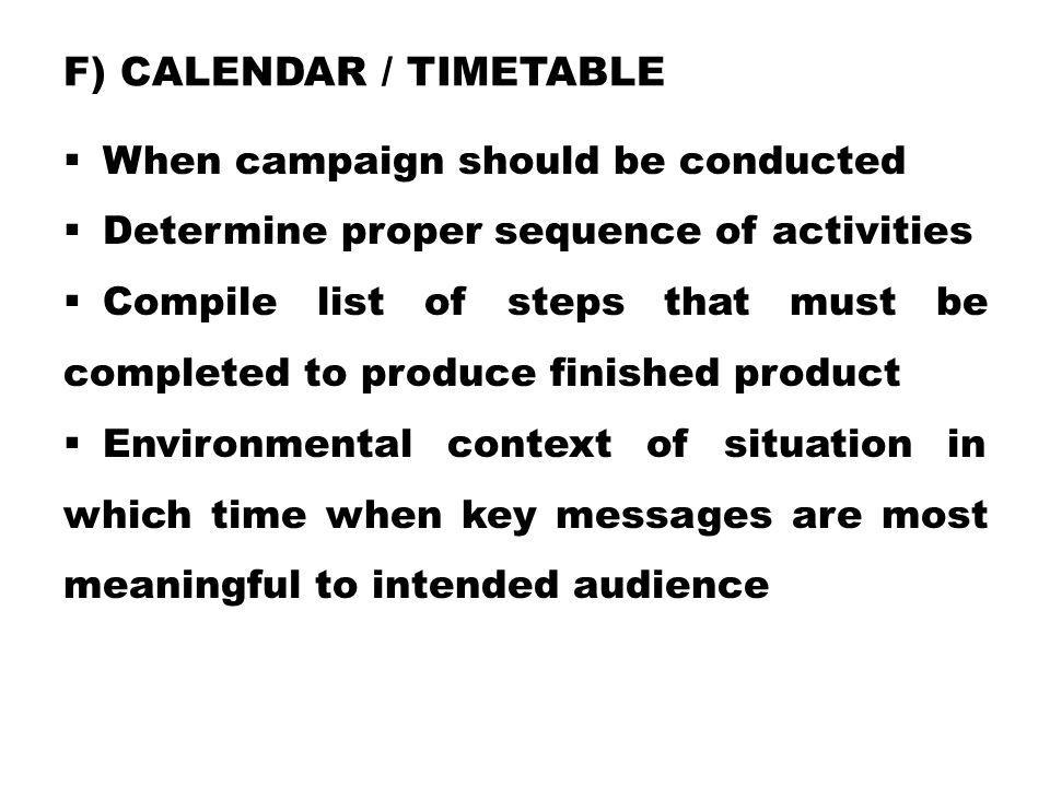 f) Calendar / Timetable
