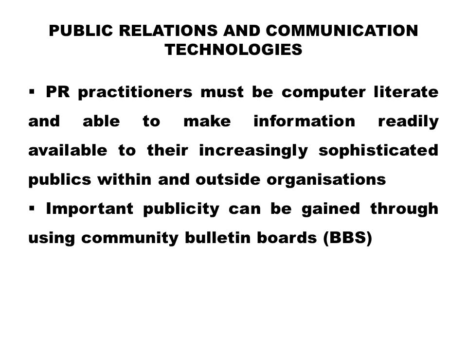 Public Relations and Communication Technologies