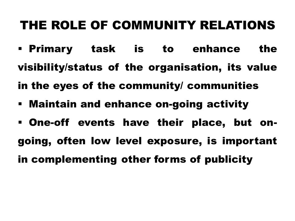The Role of Community Relations