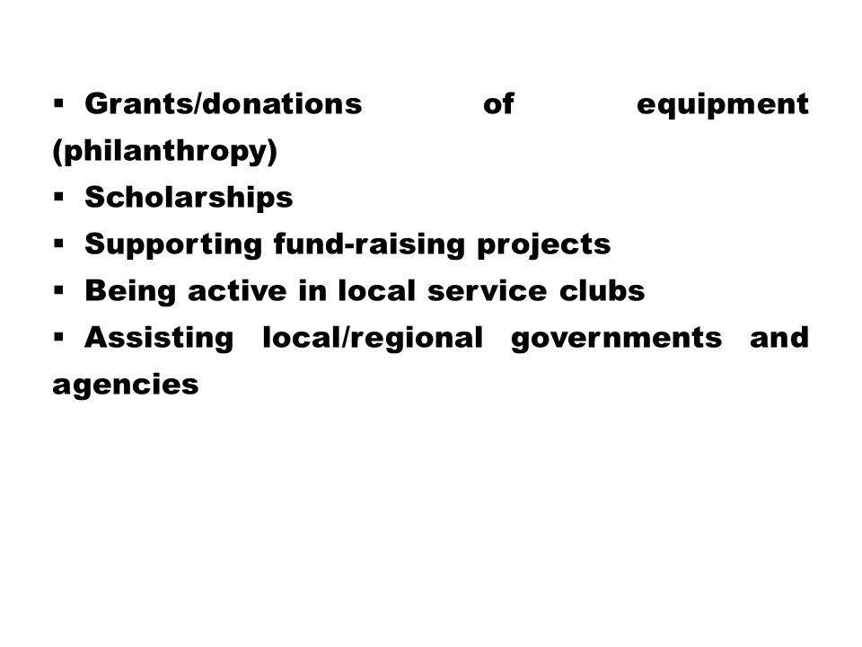 Grants/donations of equipment (philanthropy)