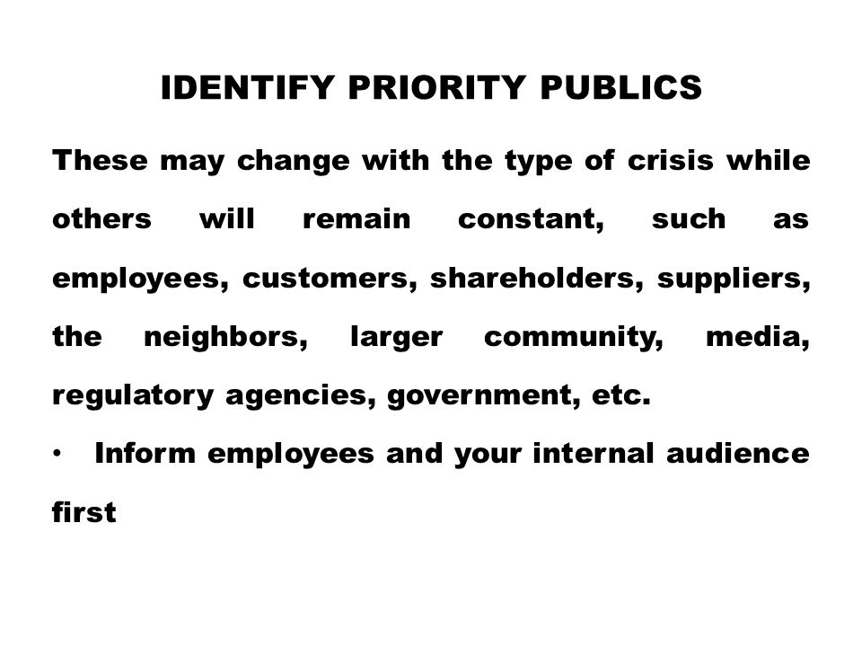 Identify priority publics