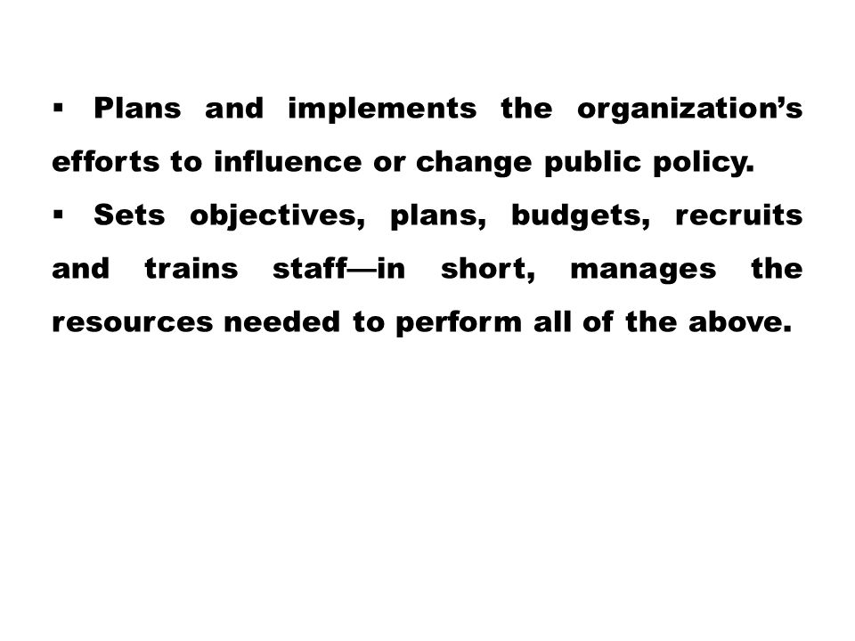 Plans and implements the organization's efforts to influence or change public policy.
