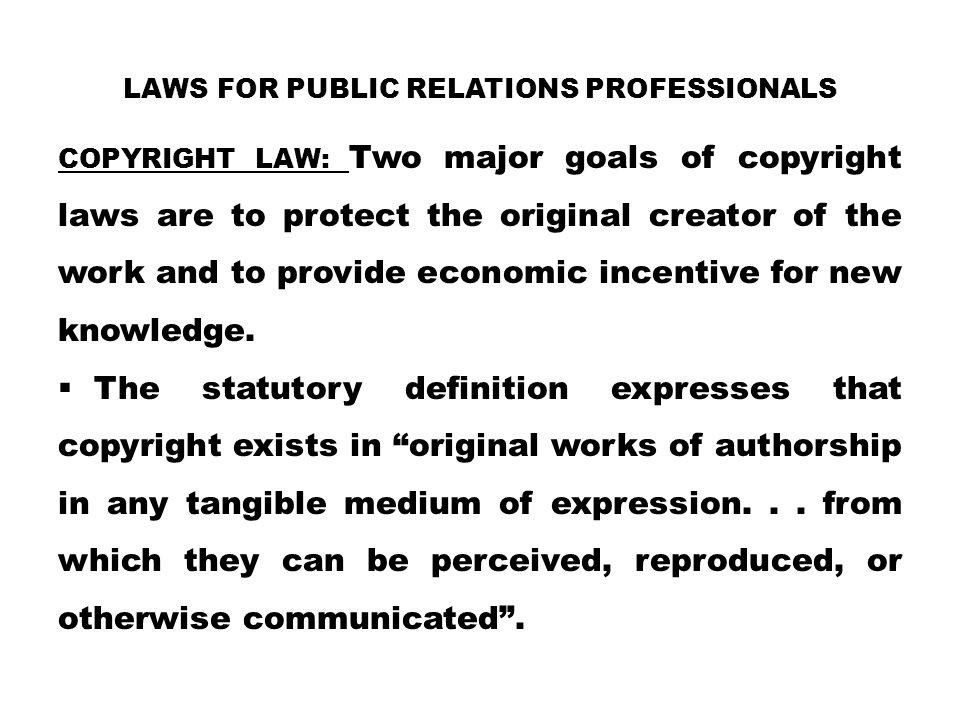 Laws for Public Relations Professionals
