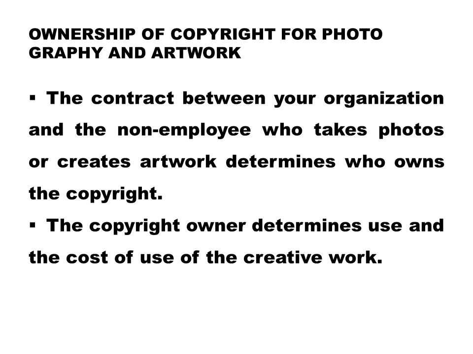 Ownership of copyright for photo graphy and artwork