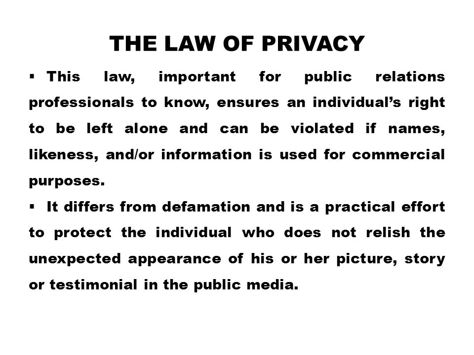 The law of privacy
