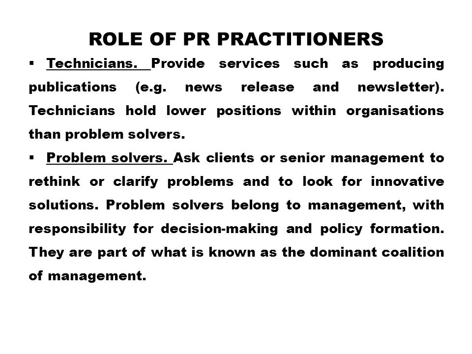 Role of PR Practitioners