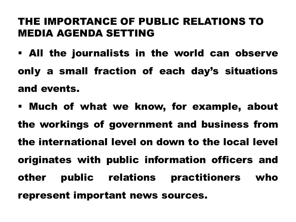 the importance of public relations to media agenda setting