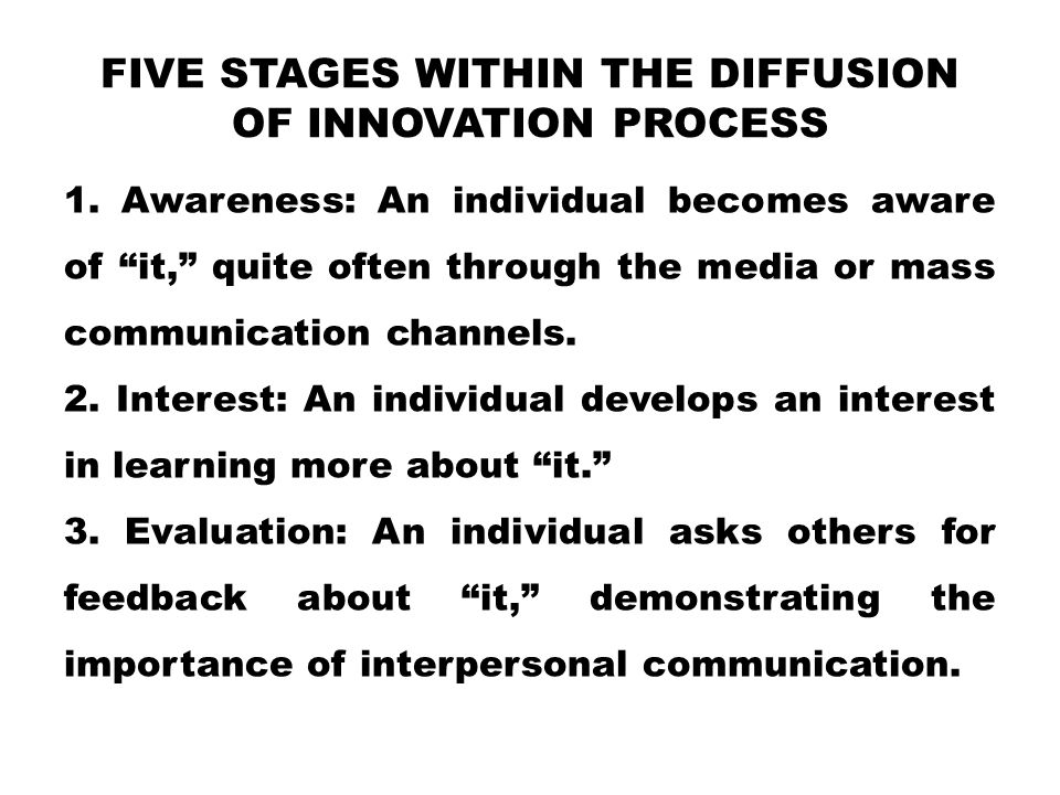 five stages within the diffusion of innovation process