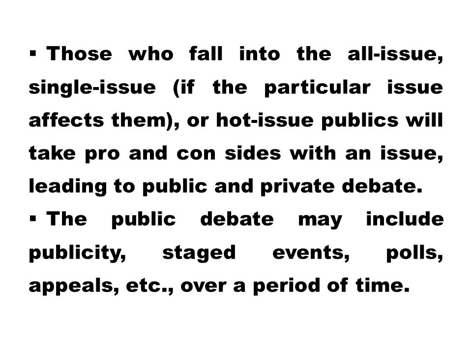 Those who fall into the all-issue, single-issue (if the particular issue affects them), or hot-issue publics will take pro and con sides with an issue, leading to public and private debate.