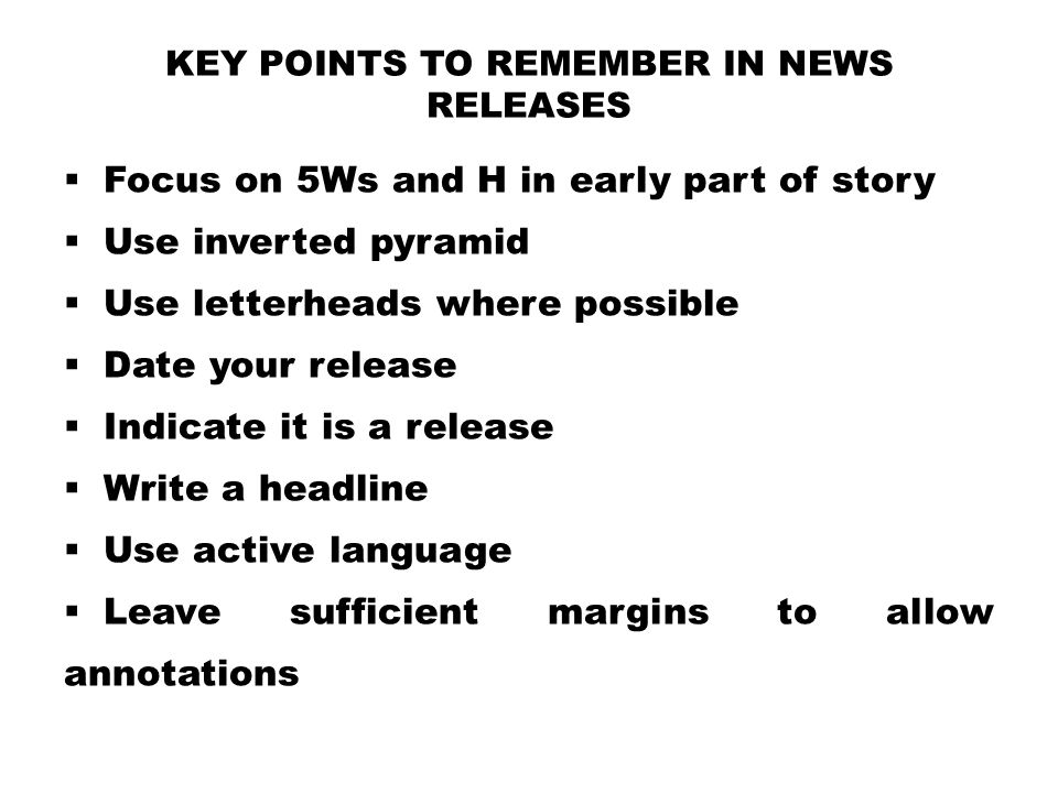 Key Points to Remember in News Releases