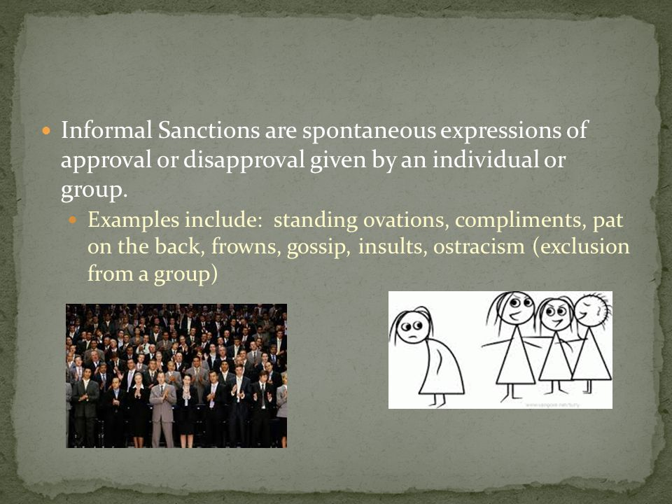 Informal Sanctions are spontaneous expressions of approval or disapproval given by an individual or group.