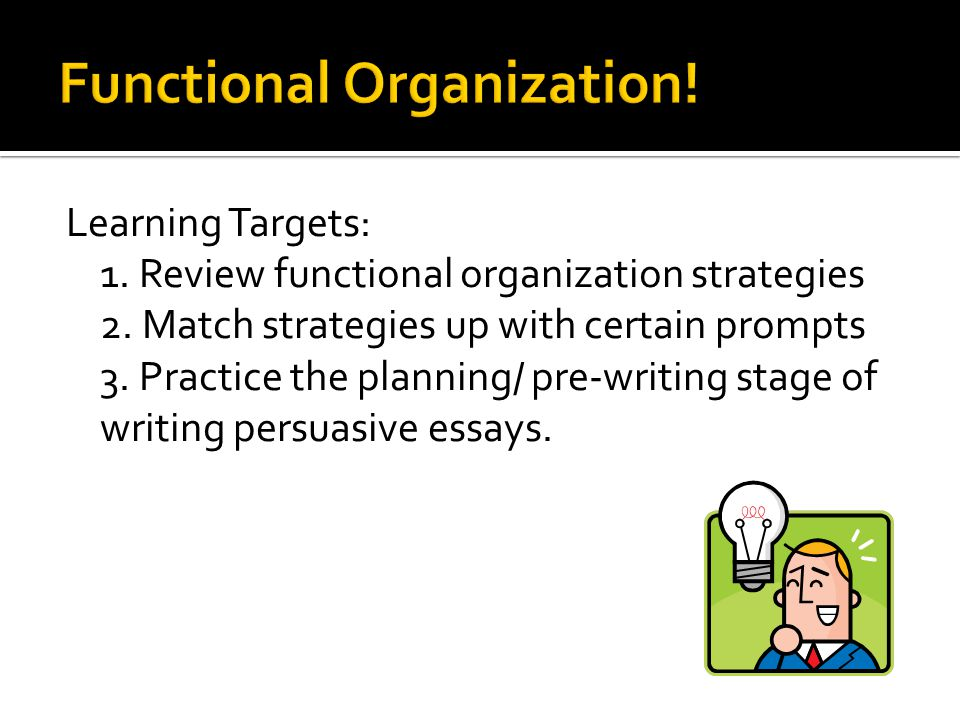 strategies for organizing essays Teaching esl beginners metacognitive writing strategies through multimedia software practice metacognitive planning and organizing strategies for their writing.