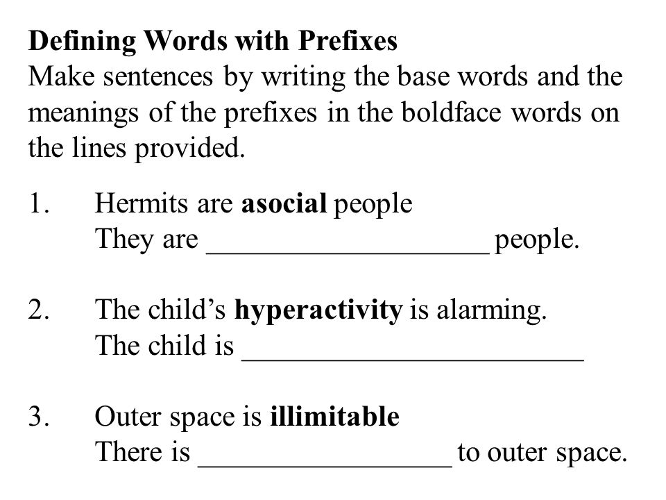 Defining Words with Prefixes
