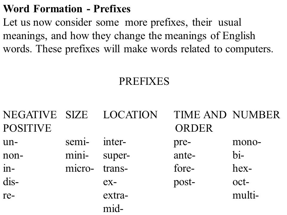Word Formation - Prefixes