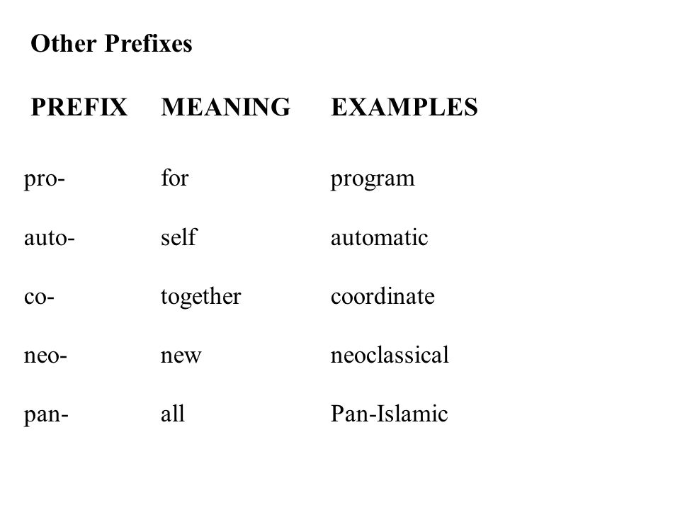 PREFIX MEANING EXAMPLES