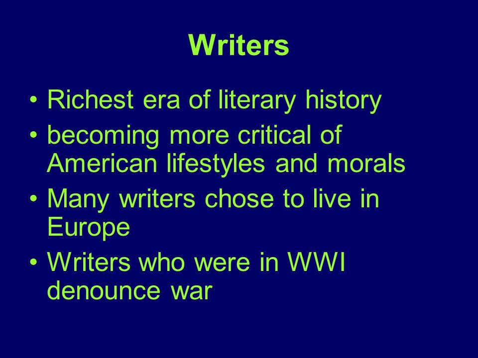 Writers Richest era of literary history