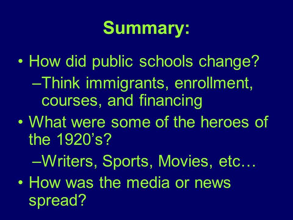 Summary: How did public schools change