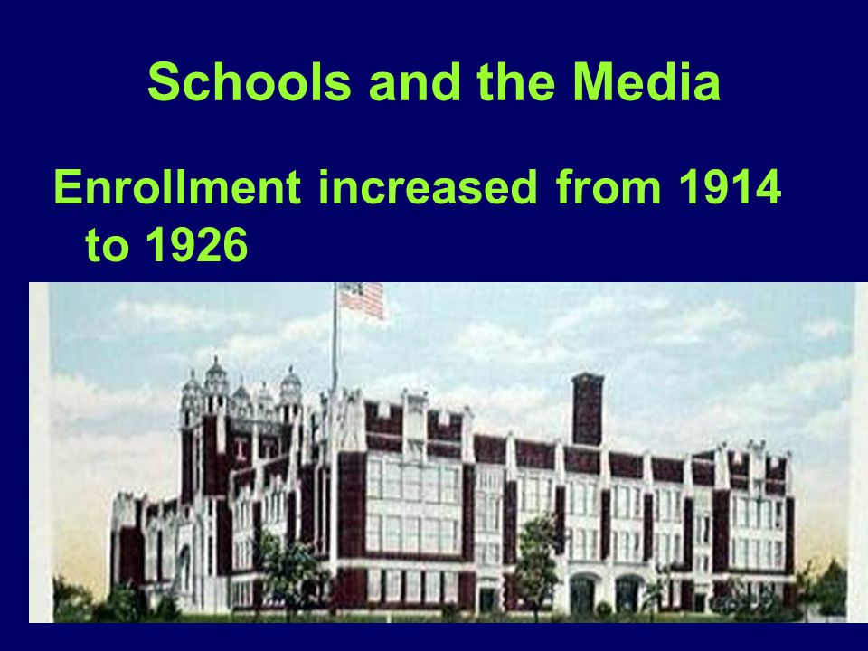 Schools and the Media Enrollment increased from 1914 to 1926