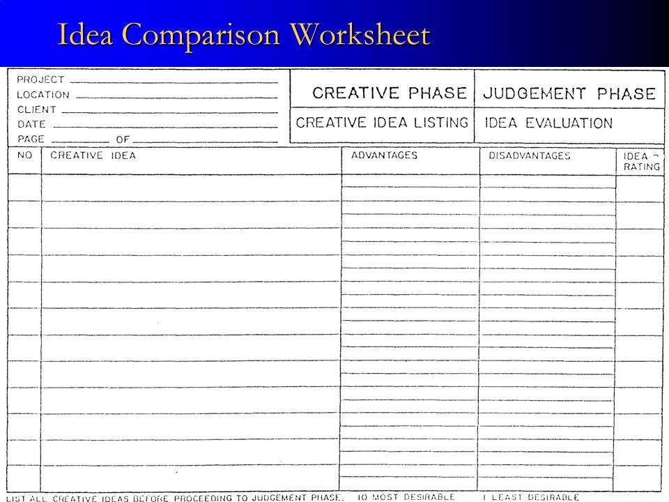 Idea Comparison Worksheet