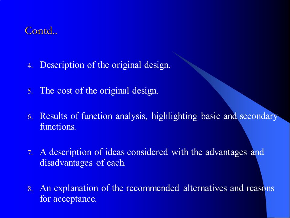 Contd.. Description of the original design.