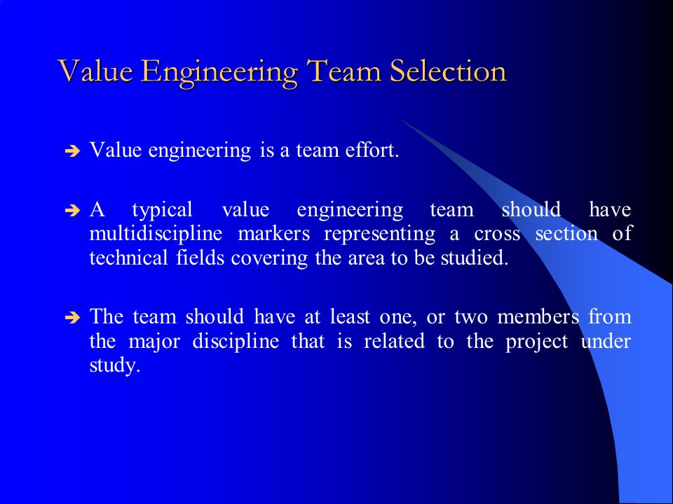 Value Engineering Team Selection