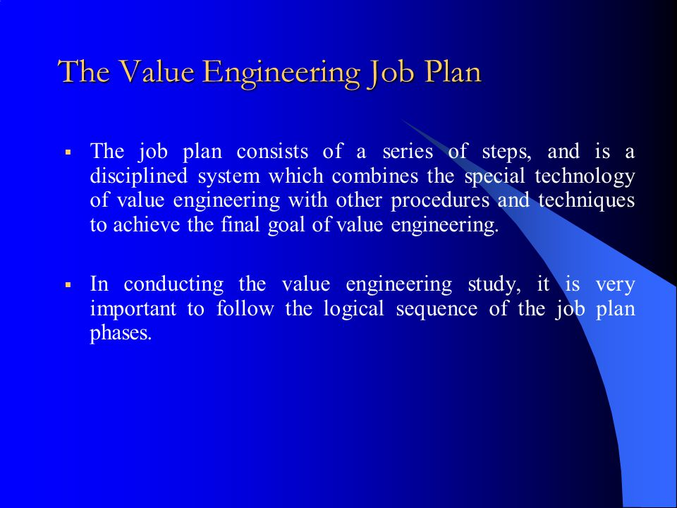 The Value Engineering Job Plan