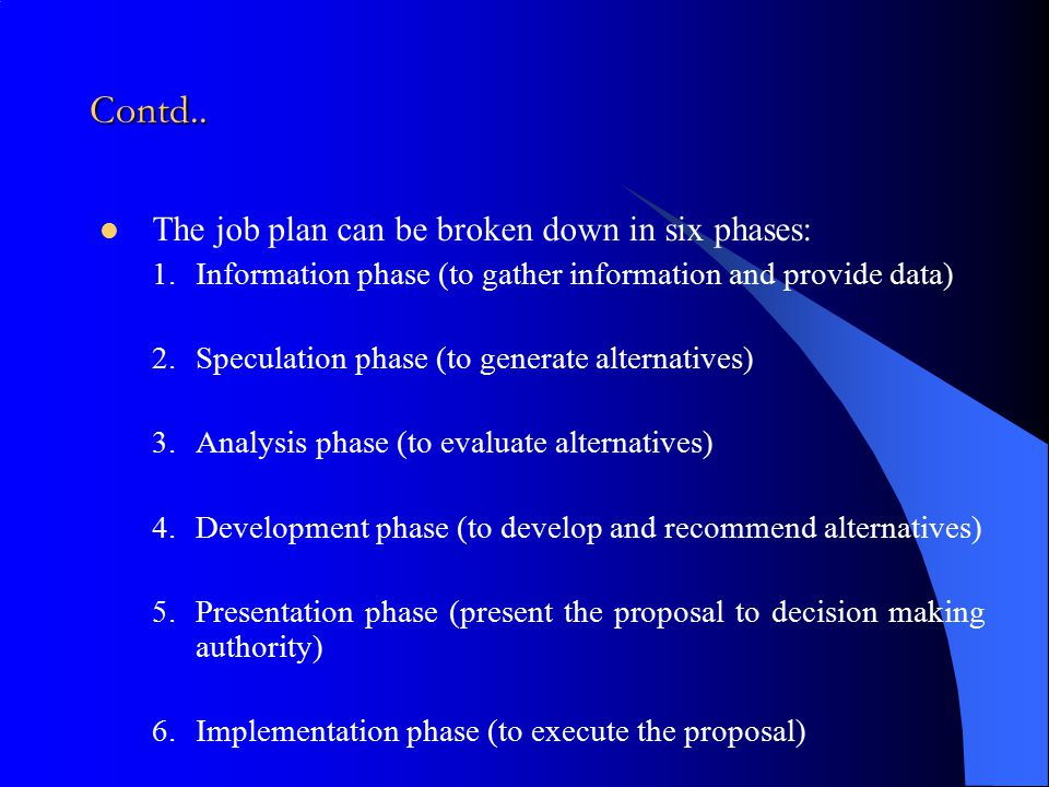 Contd.. The job plan can be broken down in six phases: