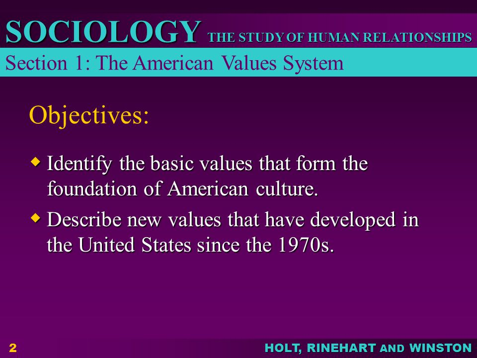 Objectives: Section 1: The American Values System