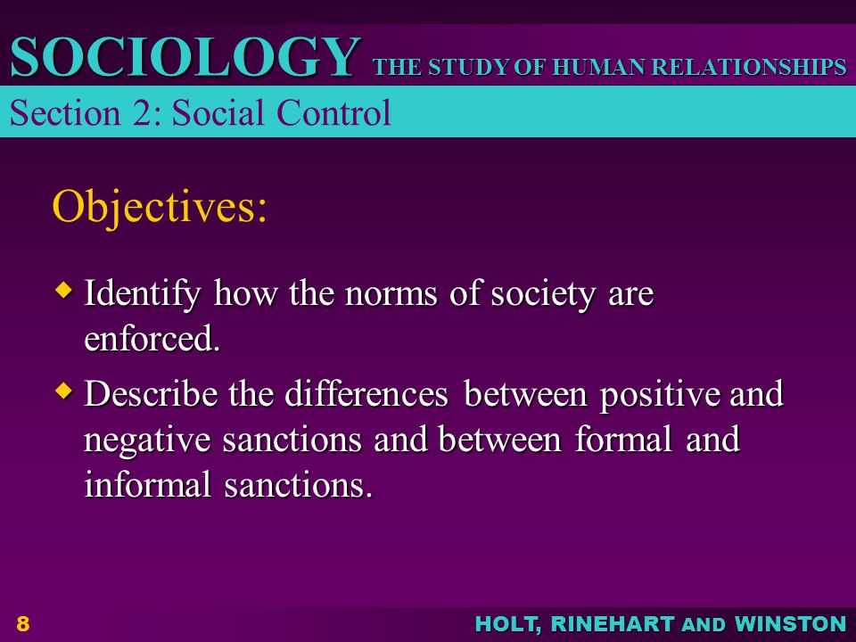 Objectives: Section 2: Social Control
