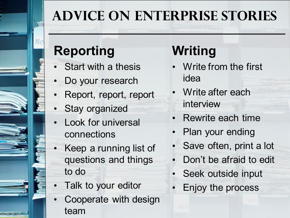 Advice on Enterprise Stories