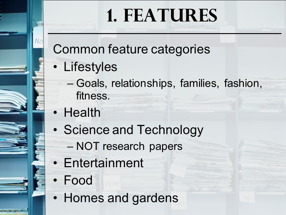 1. Features Common feature categories Lifestyles Health