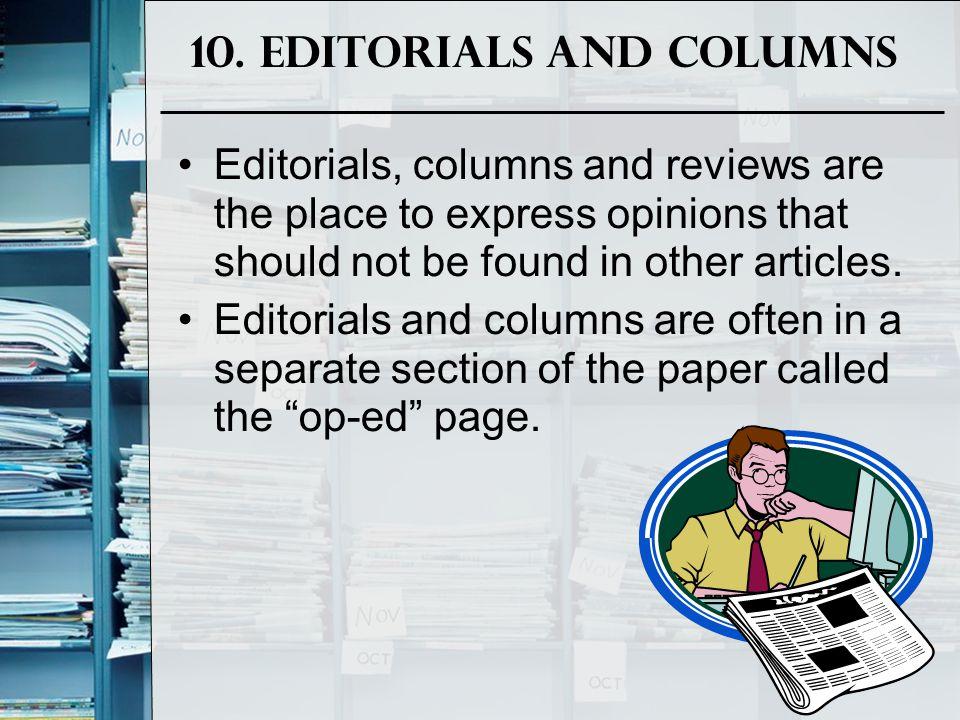 10. Editorials and Columns