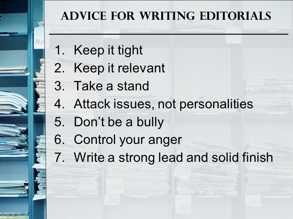 Advice for Writing Editorials