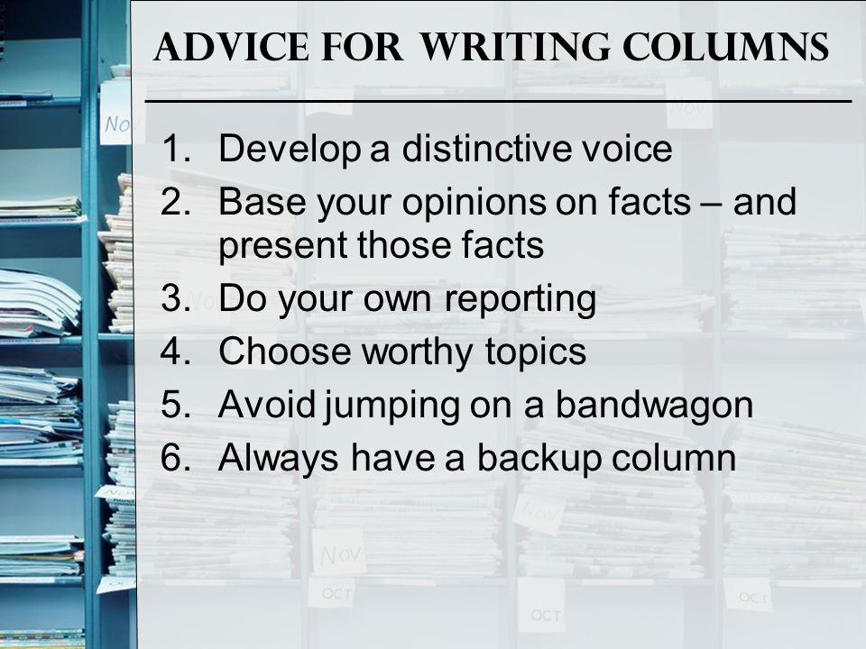 Advice for Writing Columns