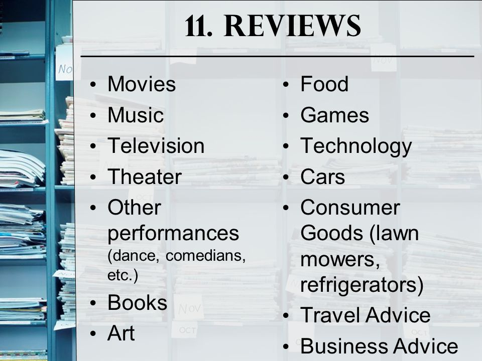 11. Reviews Movies Music Television Theater