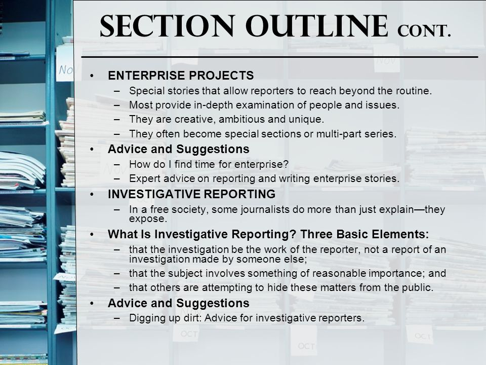 Section Outline Cont. ENTERPRISE PROJECTS Advice and Suggestions