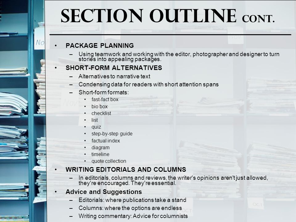 Section Outline Cont. PACKAGE PLANNING SHORT-FORM ALTERNATIVES