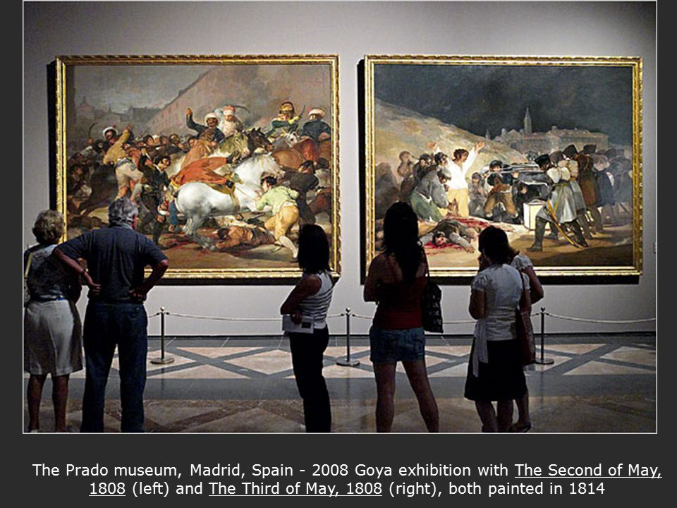 The Prado museum, Madrid, Spain - 2008 Goya exhibition with The Second of May, 1808 (left) and The Third of May, 1808 (right), both painted in 1814