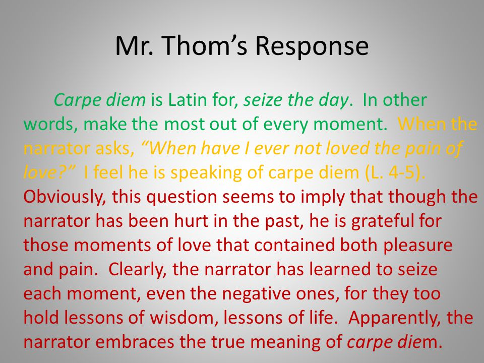 Mr. Thom's Response
