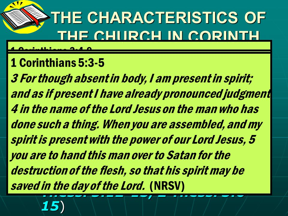 THE CHARACTERISTICS OF THE CHURCH IN CORINTH