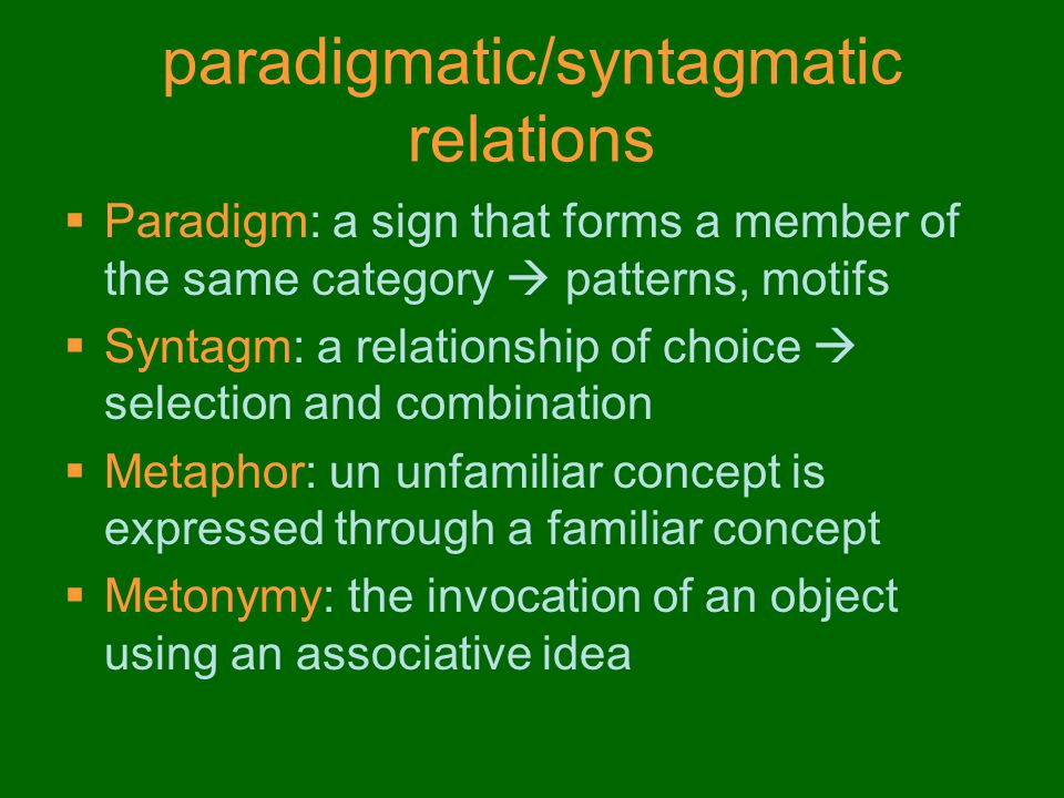 paradigmatic/syntagmatic relations