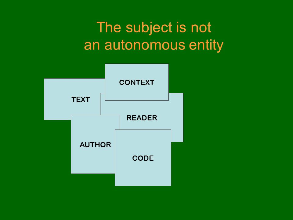 The subject is not an autonomous entity