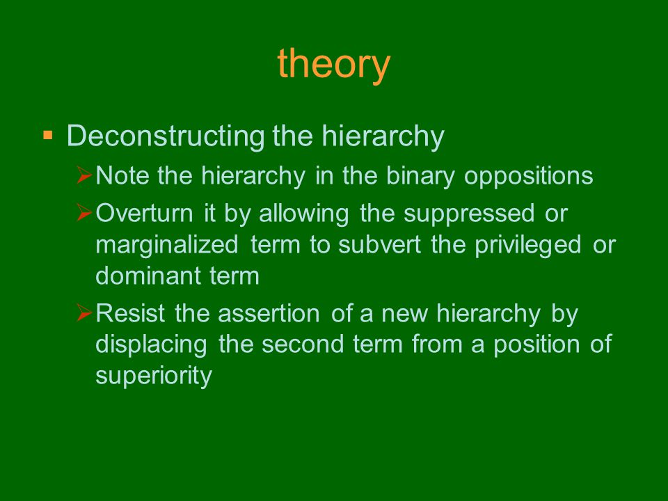 theory Deconstructing the hierarchy