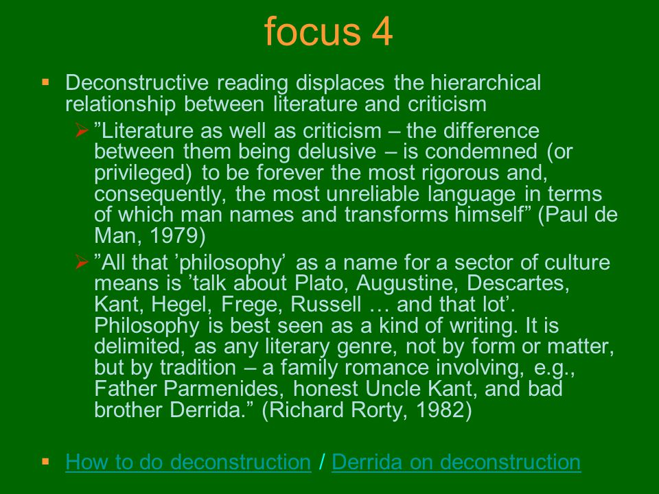 focus 4 Deconstructive reading displaces the hierarchical relationship between literature and criticism.