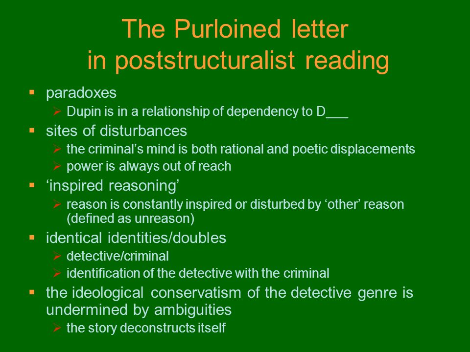 The Purloined letter in poststructuralist reading